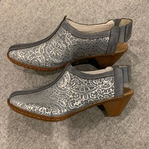 Rieker antistress slingback blue/silver shoes